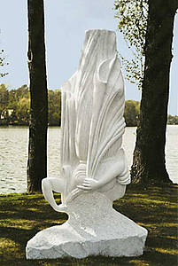 Headstand, sculpture of Carrara marble, height 240 cm, 2006