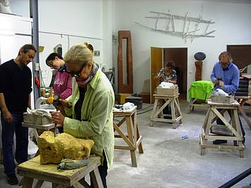 The sculpture studio during a course
