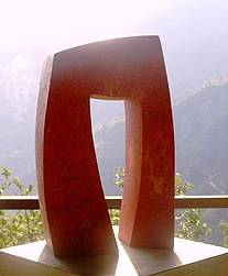 Sculpture from red travertine