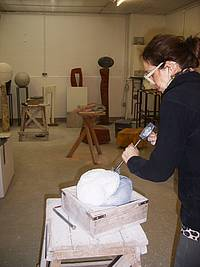 Helle from Denmark carving the marble