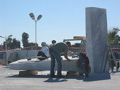 "Marble sculpture ""Krol"" before assembling, Mersin, Turkey"