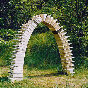 "Sculpture ""Arco"", made of marble, tuff, travertine, bronze. Height 245 cm, 2004"