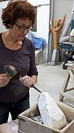 Anna from Berlin carving the marble